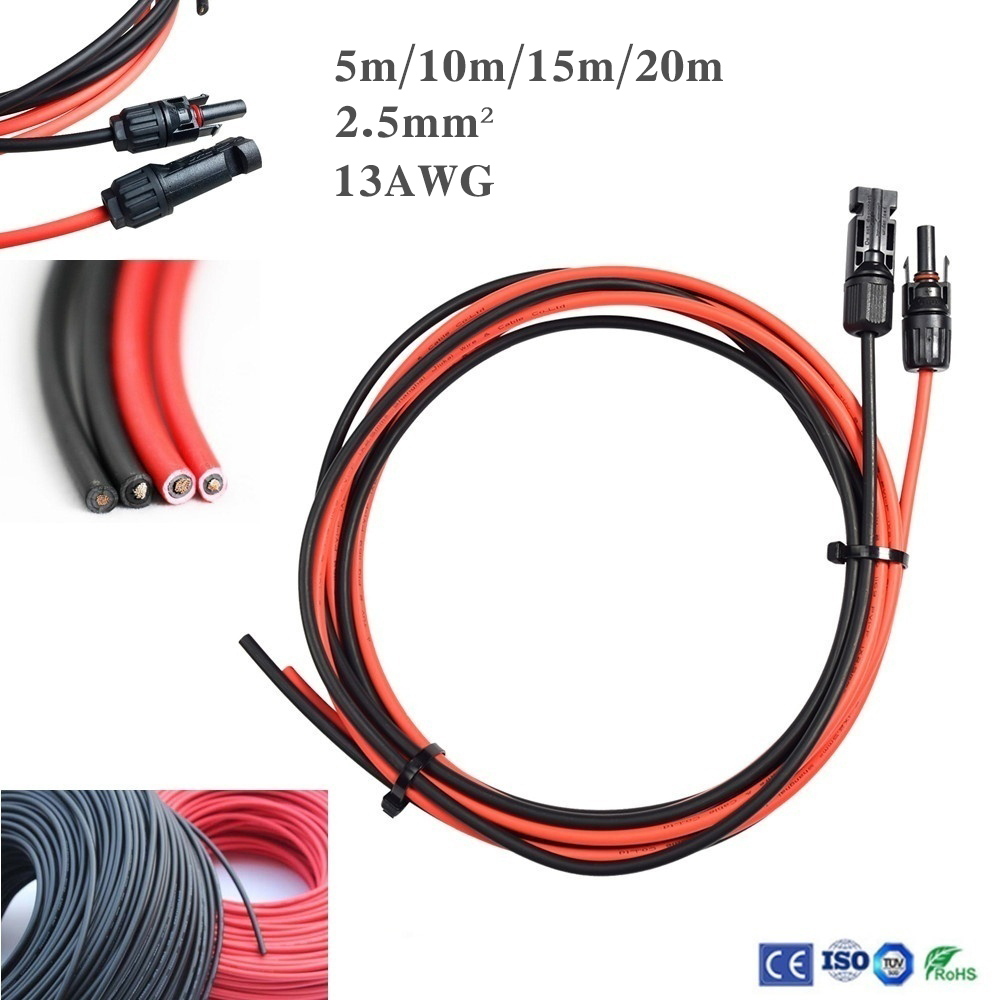 1 Pair 5/10/15/20M Black +5/10/15/20M Red 13AWG Solar Panel Extension Cable Portable Wire With MC4 Female And Male Connector