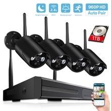 BESDER אלחוטי NVR מערכת HD חיצוני אבטחת בית מערכת 4CH CCTV וידאו מעקבים טלוויזיה במעגל סגור 960P Wifi מצלמה סט