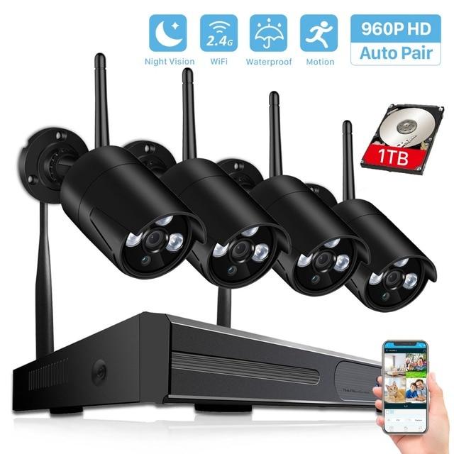 BESDER Беспроводная система NVR HD, система камер домашней безопасности, 4 канала, камера видеонаблюдения, комплект NVR 960P, Wi Fi