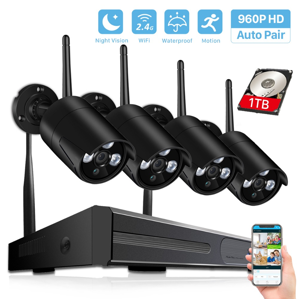 BESDER Wireless NVR System HD Outdoor Home Security Camera System 4CH CCTV Video Surveillance CCTV NVR Kit 960P Wifi Camera Set