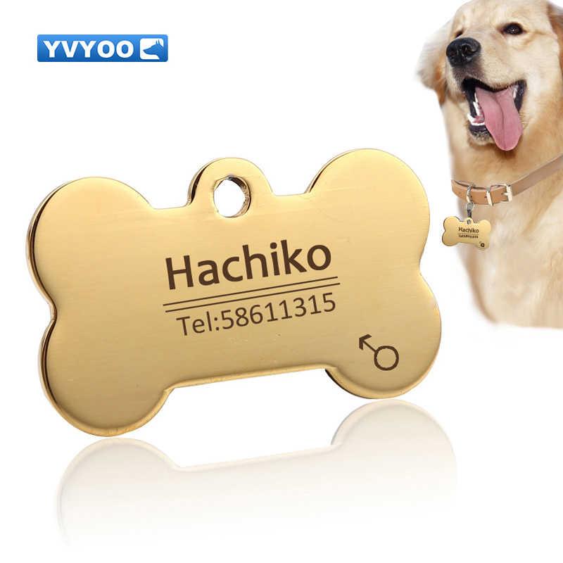 Yvyoo 무료 조각 애완 동물 강아지 고양이 목걸이 액세서리 장식 애완 동물 id 개 태그 목걸이 스테인레스 스틸 고양이 태그 사용자 정의 태그