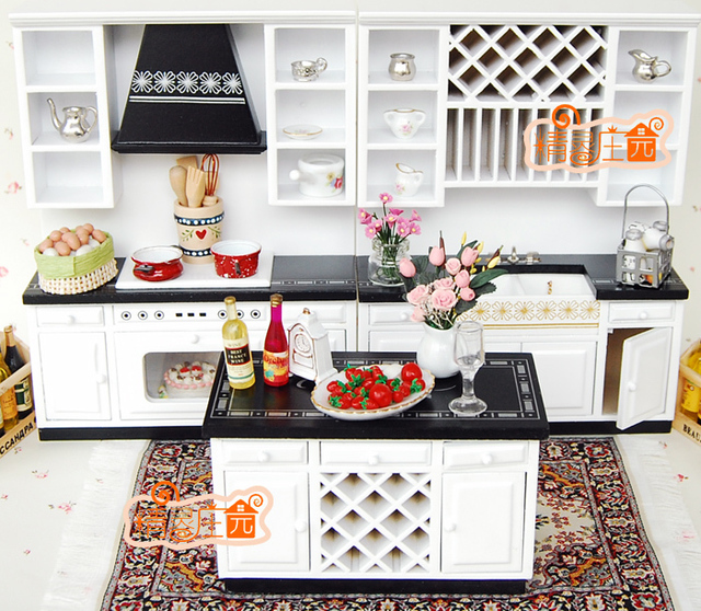 1 12 Scale Doll House Furniture Miniature White And Black Modern Kitchen Set