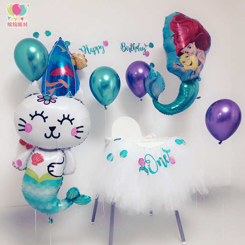 1 шт., голова кошки, воздушные шары из фольги русалки, морские животные, вечеринка на день рождения, вечеринка для малышей, вечеринка принцессы, подростковое сердце, вечерние украшения для детских игрушек