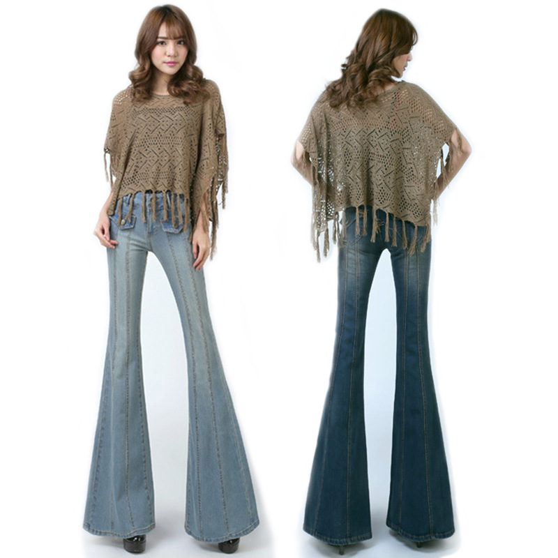 Vintage High Waist Flared Jeans For Women Bell Bottom Jeans Long Flared Denim Jeans Mom Fit Wide Leg Denim Pants Casual Trousers