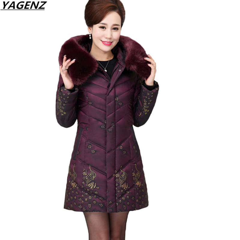 Plus Size 5XL Women Jackets New Winter Coat Middle-Aged Down Cotton Jacket Printed Hooded Hair Collar Warm Cotton-padded Clothes