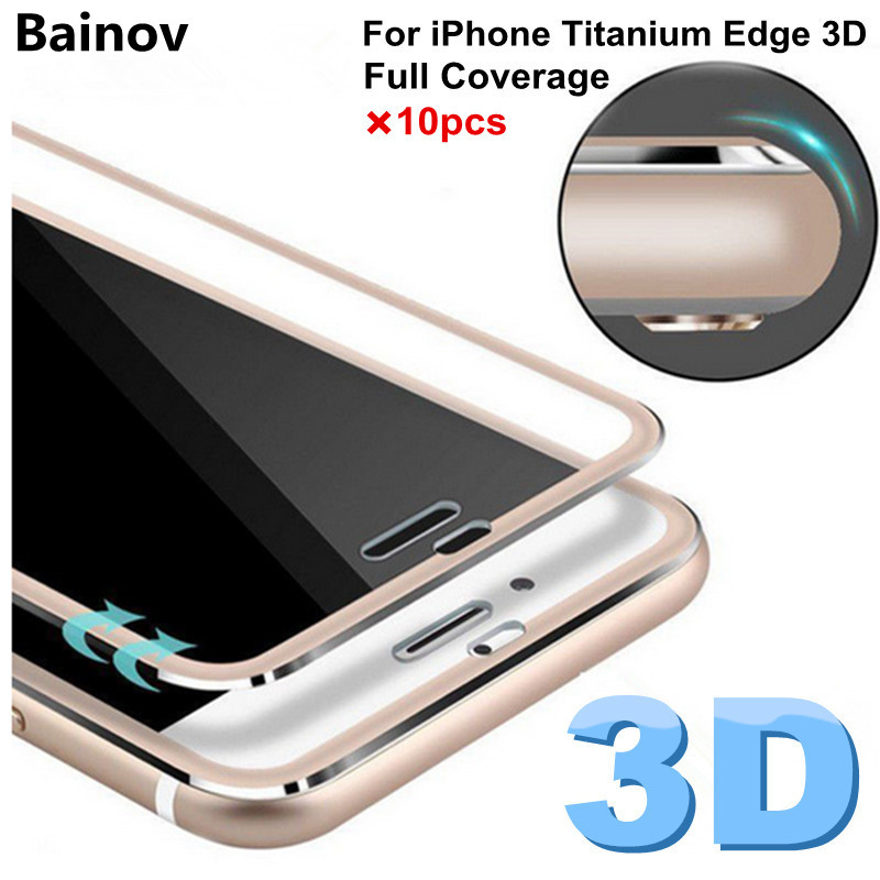imágenes para Bainov 10 unids/lote 3d borde curvo de cristal templado para iphone 6 6s titanium película protectora protector de pantalla para iphone 7 plus