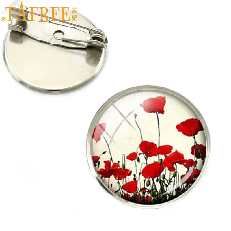 TAFREE Wholesale charming Red Poppy brooches Field Of Poppies Flowers brooch pins Floral Art jewelry Mother's Day gift NS135