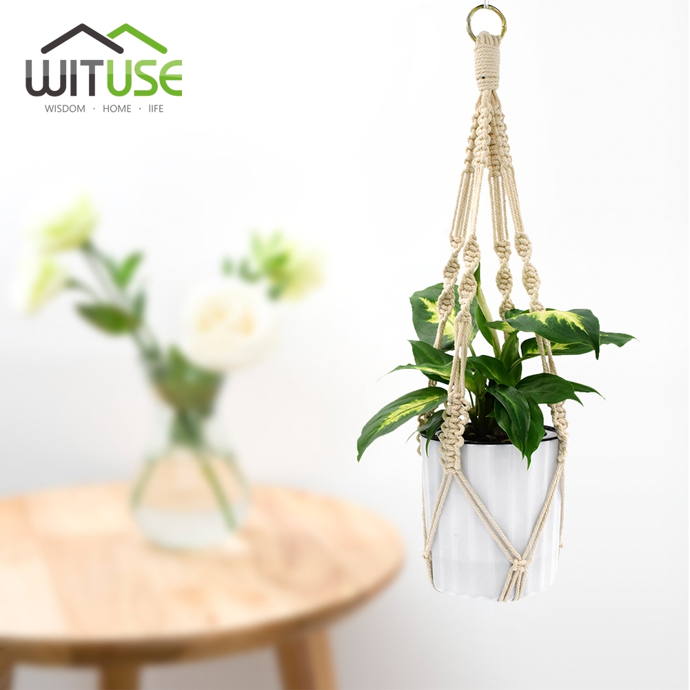 Image 4 - WITUSE 1PC Macrame Plants Hanger Hook 4 Legs Retro Flower Pot Hanging Rope Holder String Home Garden Balcony Decoration Wall Art-in Hanging Baskets from Home & Garden
