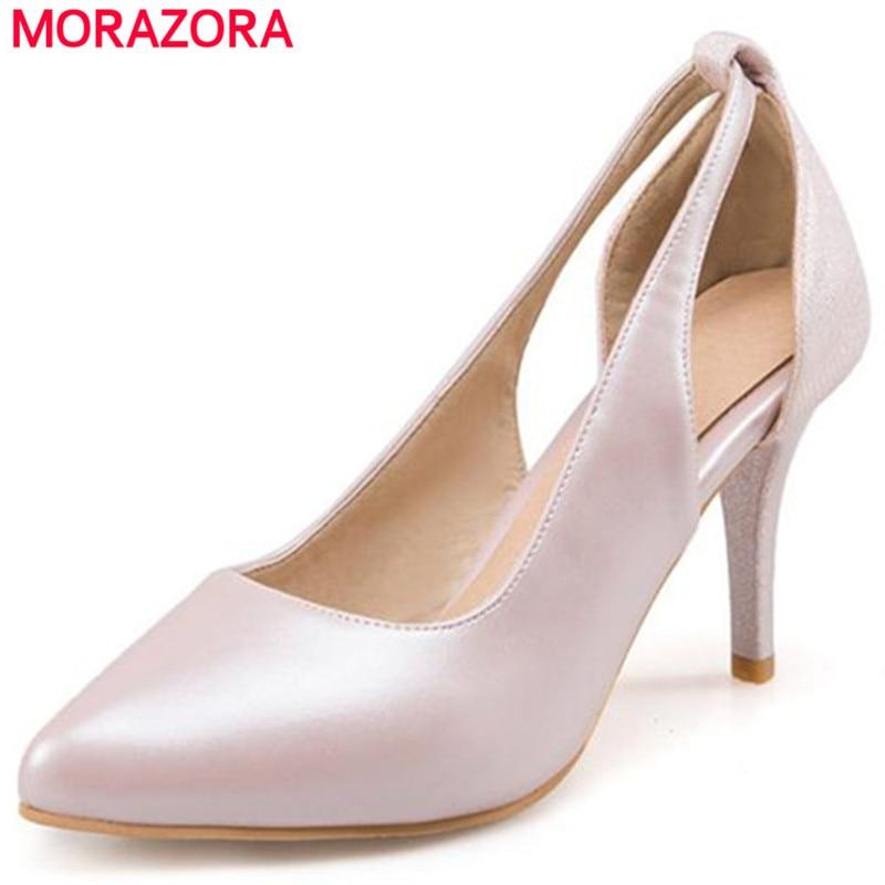 MORAZORA Plus size 34-43 thin high heels shoes fashion elegant wedding party shoes women pumps shallow single shoes solid PU