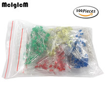 MCIGICM 500pcs 3MM LED Diode Kit Mixed Color Red Green Yellow Blue White