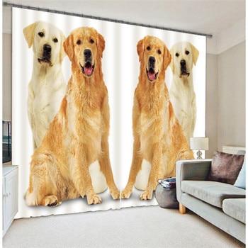 Modern Fashion Golden Retriever Printing 3D Blackout Curtains For Bedding room Living room Hotel Drapes Cortinas Para Sala