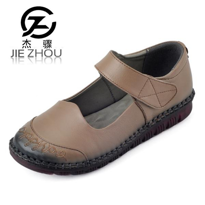 Retro Genuine leather flat with mom shoes 2018 Spring and Autumn black Plus Size Women Shoe Embroidery non-slip soft end Flats free shipping small size 38 39 44 men spring autumn flats boy genuine leather shoe students fashion trend lace up shoes non slip