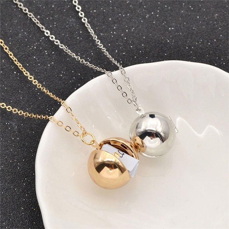 Women Men Gold/Silver-Color Personalized Long Chain Round Ball Necklace Hidden Secret Me ...