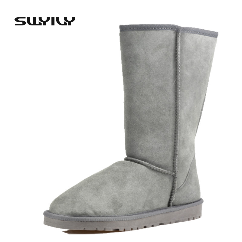 35-43 Big Size Genuine Leather Winter Snow Boots Women 2017 Suede Warm Shoes Woman Candy Color Blue Pink Black 11 Color fawn warm women s snow boots ming blue size 37