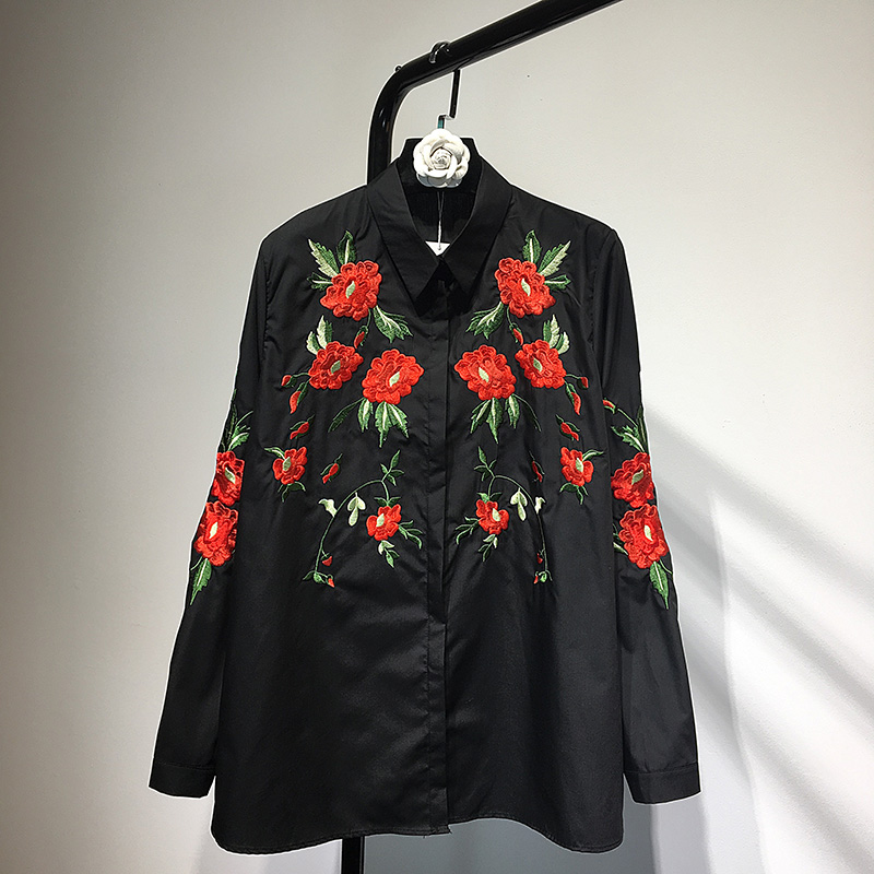MUMUZI elegant black flower embroidery blouse shirt turn down collar blouse blusas Women long sleeve blouse tops christmas