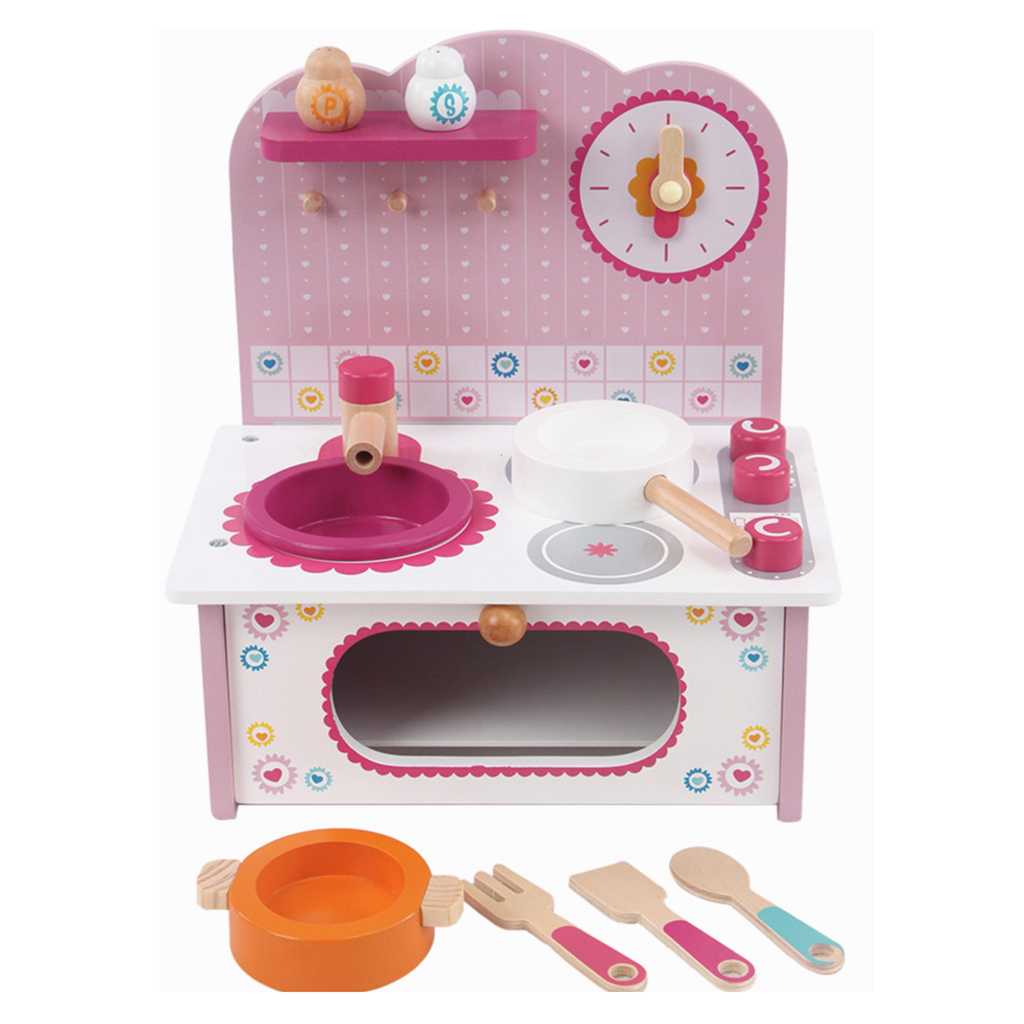 Pink Play House Kitchen Cookware Playset Kid Pretend Toy Cooking Water Tank Stove Bench Pots Pans