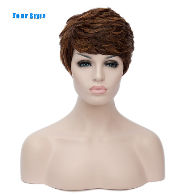 Twój Styl Krótkie Kręcone Fryzury Naturalne Włosy Peruki Damskie Ombre Brązowy Kolor Syntetyczny Wysokiej Temperatury Włókna Sztuczne Włosy