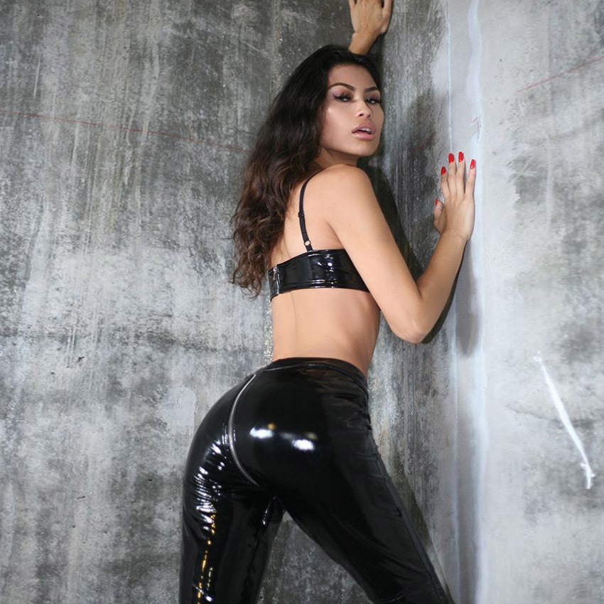 65553c187 Women Sexy Shiny PU leather Leggings with Back Zipper Push Up Faux Leather  Pants Latex Rubber Pants Jeggings Black Red