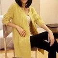 Concisa coreano Cuello Redondo de Manga Larga de Largo Fondo Engrosamiento Fácil de Tejer Cardigan Mujer Abrigo Suelto
