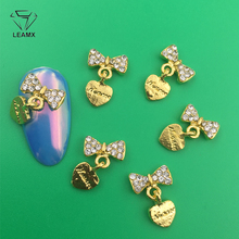LEAMX 10 PCS/bag AB/Clear Rhinestones Nails Art Decorations 3D Bow With Heart Nail DIY Manicure Alloy Charms Supply L414