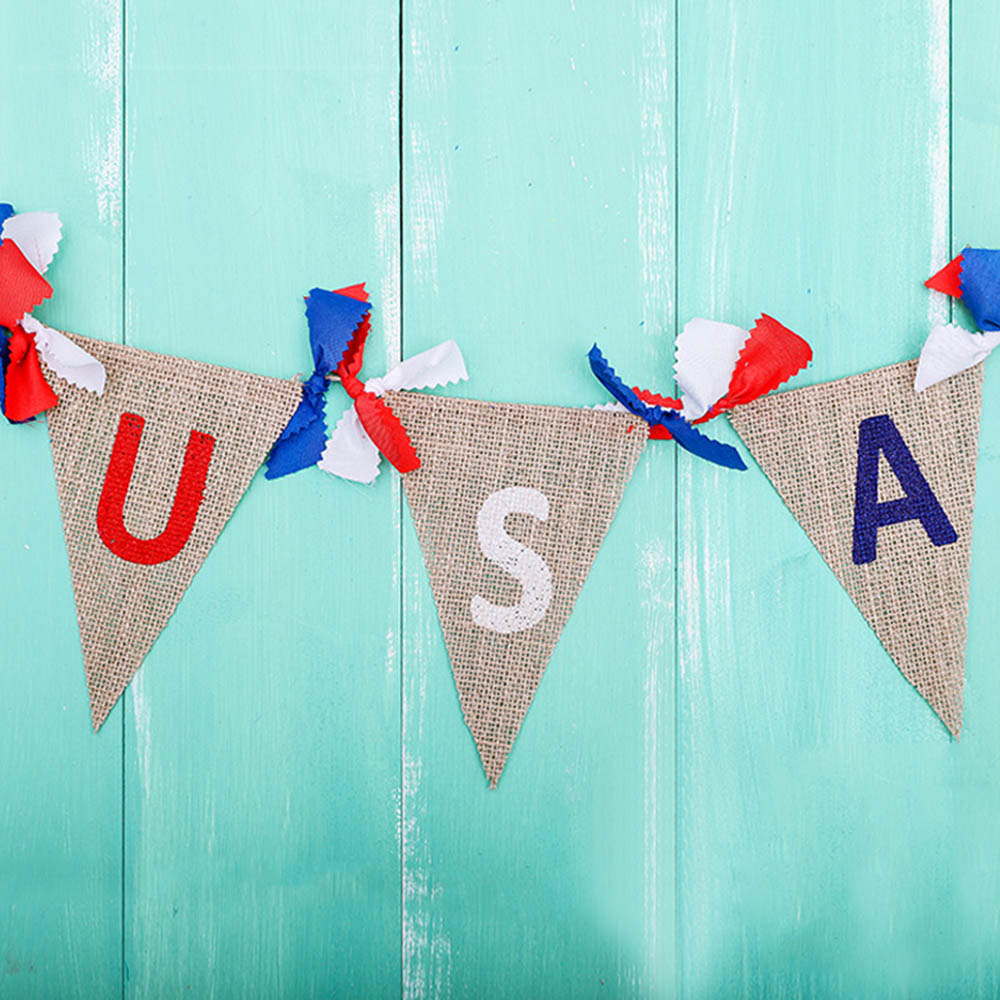 American Independence Day Party Flag Banner Decoration DIY USA Jute Burlap Bunting Banner Flags United States National Day Flag