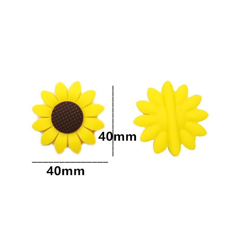 Chenkai 10PCS Silicone Sunflower Teether Beads Baby Dummy Teething Pendant For DIY Baby Nursing Necklace Chewable Pacifier Gift in Baby Teethers from Mother Kids