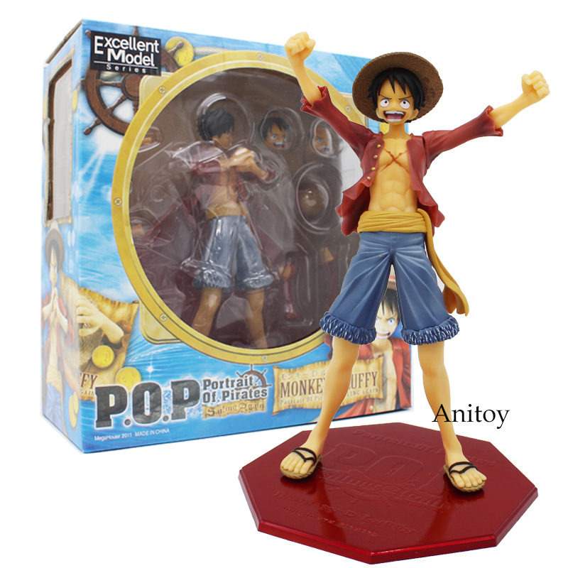 Anime Luffy figures One Piece P.O.P Monkey D Luffy PVC Action Collective Figure Model Toys 21cm anime one piece action figure 20th red clothes luffy mdoel toys pvc collection figurine luffy toys 24cm