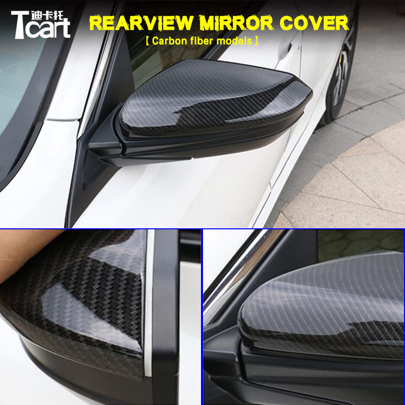 все цены на GuangDian Car Side ABS Rear View Rearview Back Mirror Cover Replacement Carbon Fiber For Honda Civic 2016 2017 2018 Accessories онлайн