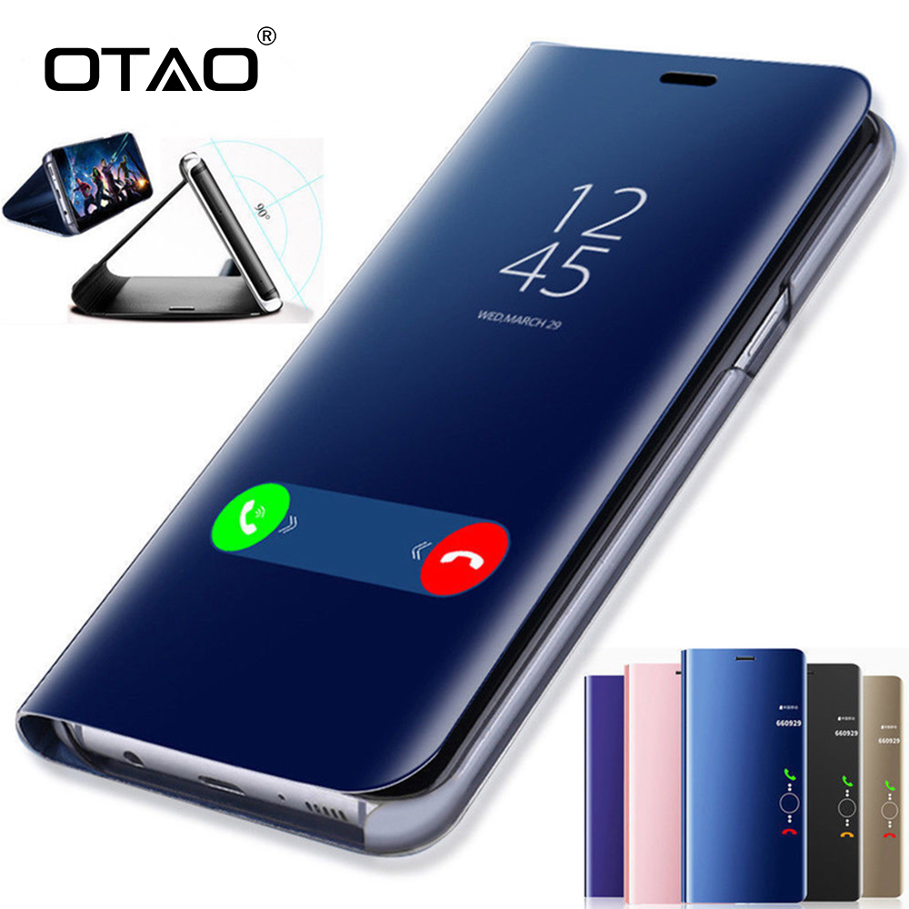 Galleria fotografica OTAO Clear View Smart Mirror Phone Case For Samsung Galaxy S9 S8 S7 S6 Edge Plus For Note 8 5 For A3 A5 A7 A8 2017 2018 Case