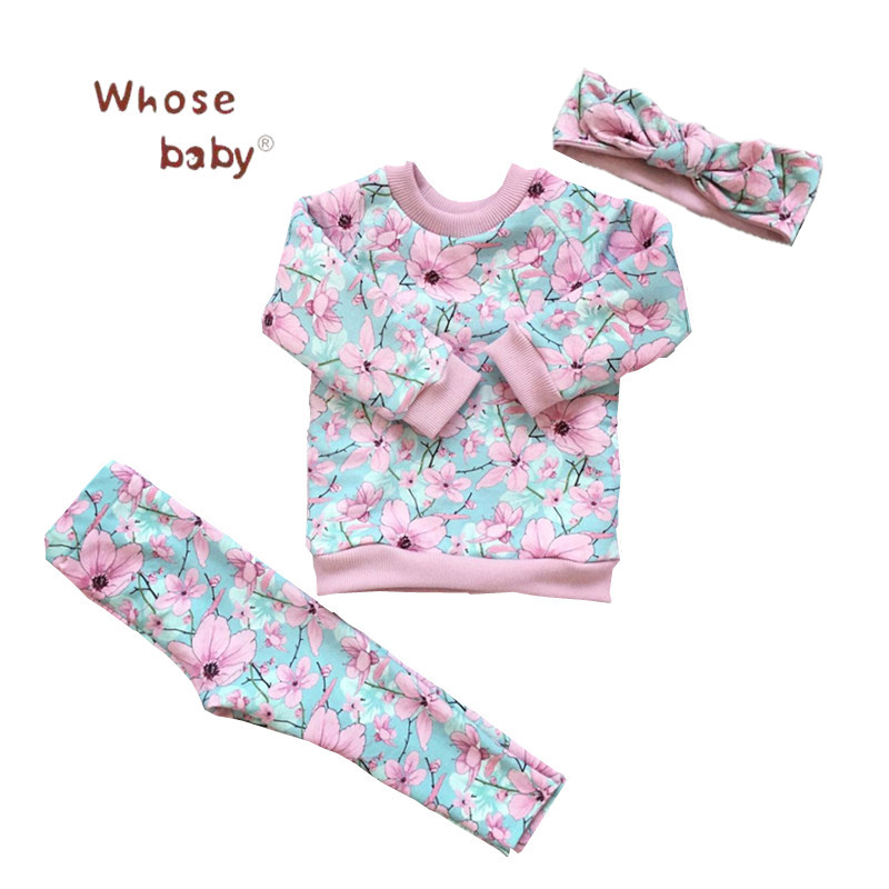 3pcs Baby Girl Clothes Set Spring Newborn Sets Flower Long Sleeves Clothing For Infantil Girls T-shirt Pant Headwear Baby Set newborn baby girls clothes sets boy clothing set cute dinosaur top shirt pant with shoulder straps set for toddle kid girls boys