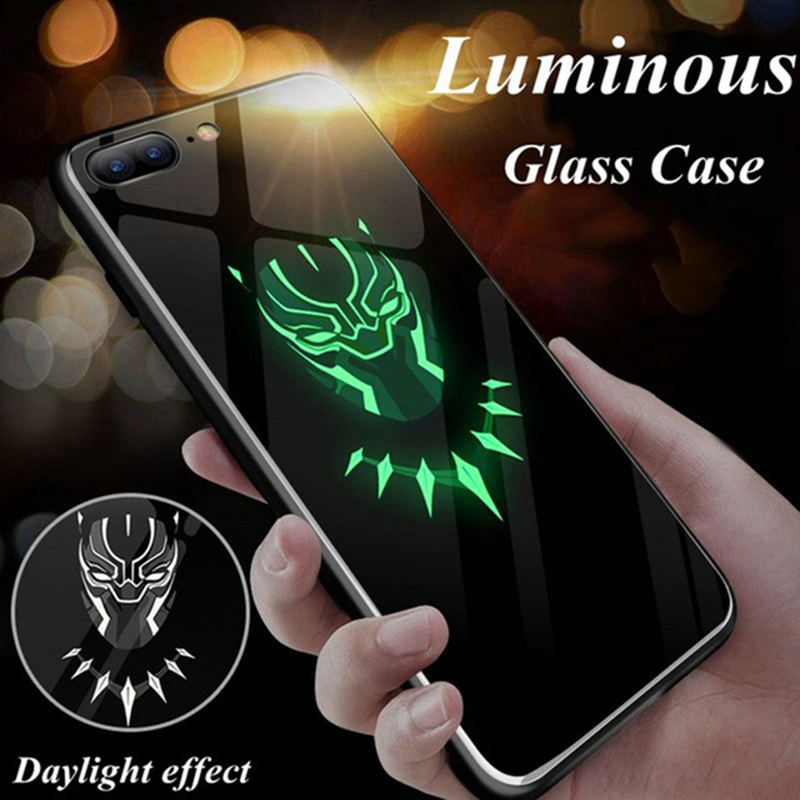 Coque Marvel Avengers Batman Captain America Iron Man Luminous Glass Phone Case Cover For iphone XR XS Max Back Cover Case marvel glass iphone case