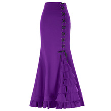 New 2018 Women Victorian Style High Stretchy Nylon-Cotton Ruffled Fishtail Mermaid Skirt Waist No Lining