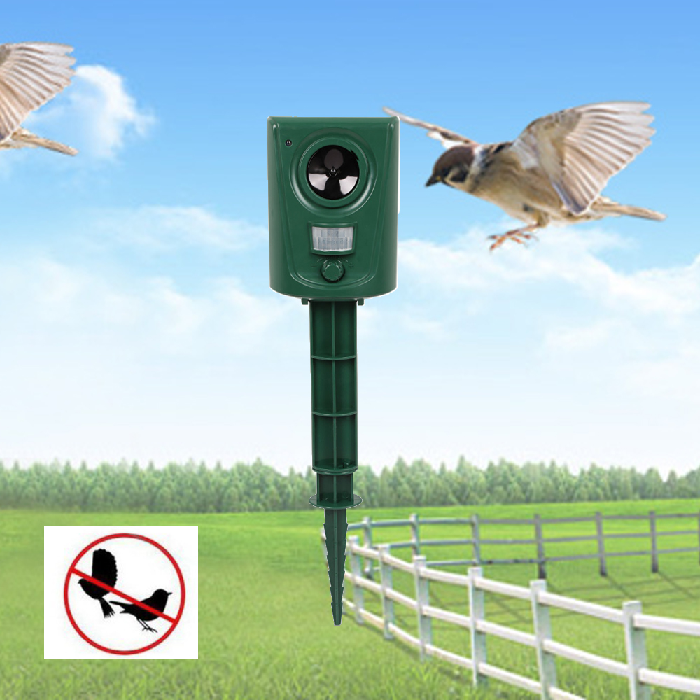 Ultrasonic Animal Bird Repeller Animal Driver Outdoor Waterproof PIR Sensor LED Light Garden Orchard Bird Repeller