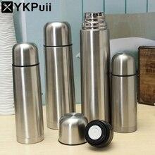 Simple Silver Termos Matraz de Vacío de Acero Inoxidable Taza Oficina Botella de Agua termal Caliente Fría Al Aire Libre 350/500/750/1000 ml