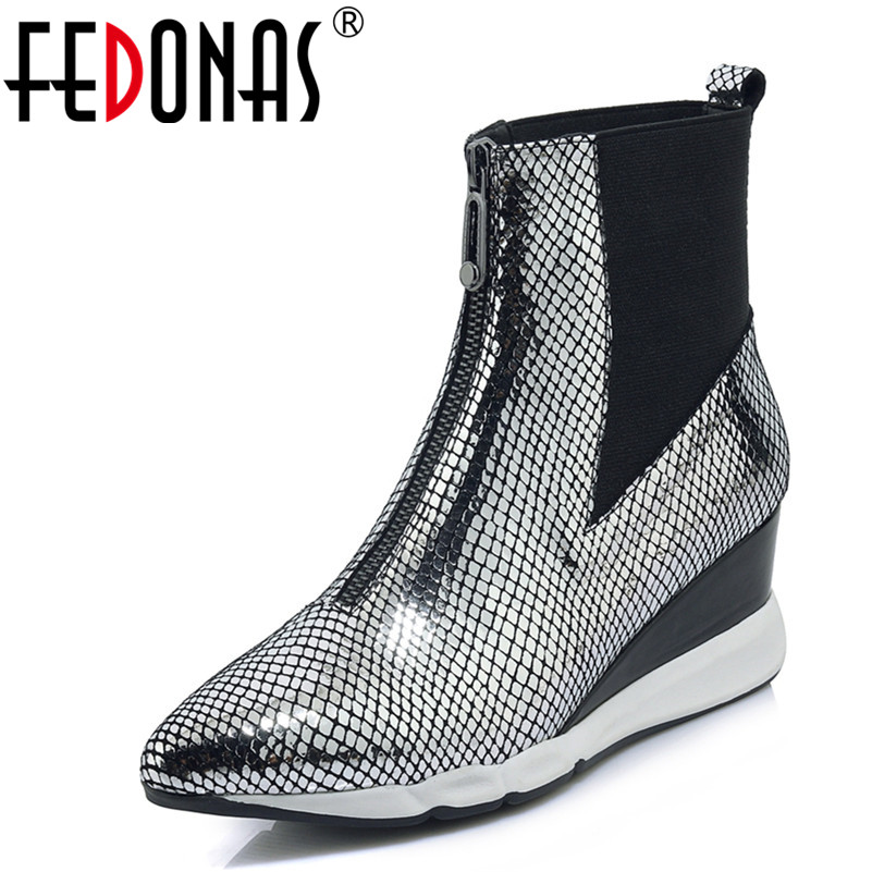 FEDONAS Fashion Women Wedding Prom Ankle Boots Genuine Leather Autumn Winter Wedges High Heels Shoes Vintage Zipper Shoes Woman fedonas vintage women genuine leather shoes spring autumn winter high quality fashion wedding party shoes woman new flats
