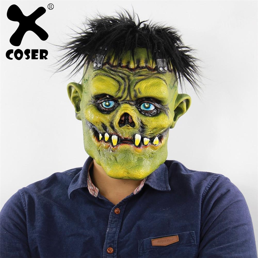 XCOSER Clearance Cheap Sale Horror Brunette Green Face Monster Headgear Halloween Cross-Border Foreign Trade Latex Ghost Mask