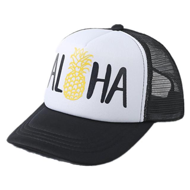 2017 Fashion Trucker Hat ALOHA BEACHES Pineapple Print Gold Logo Top  Quality Baseball Caps Mesh SnapBack Holiday Sun Gift 4d8dff35789
