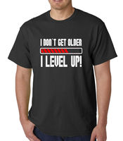 Men's I Don't Get Older I Level Up! T shirt Funny Gamer Video Games Birthday Tee free shipping Unisex Casual gift