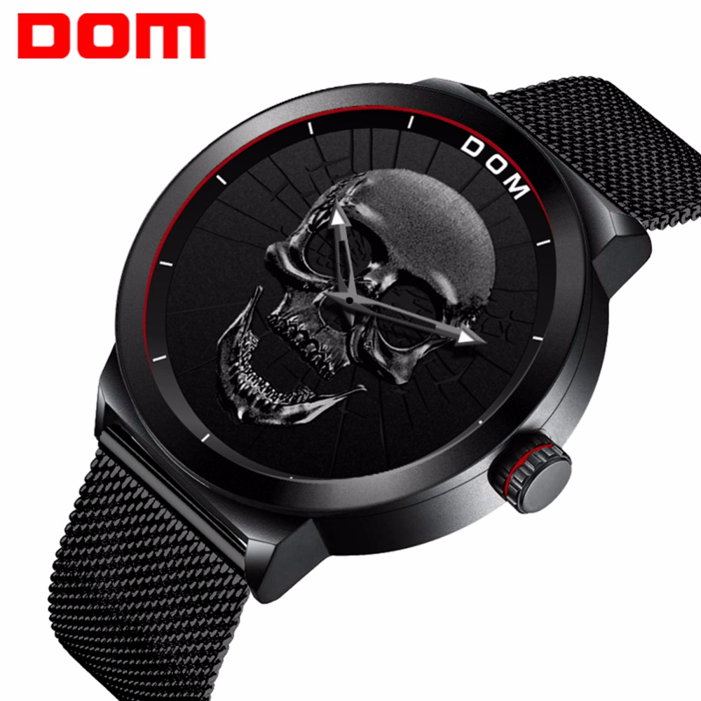 2018 Cool Punk 3D Skull Men Watch Brand DOM Luxury Steel Gold Black Vintage Quartz Male Watches Sport Clock Relogio Masculin