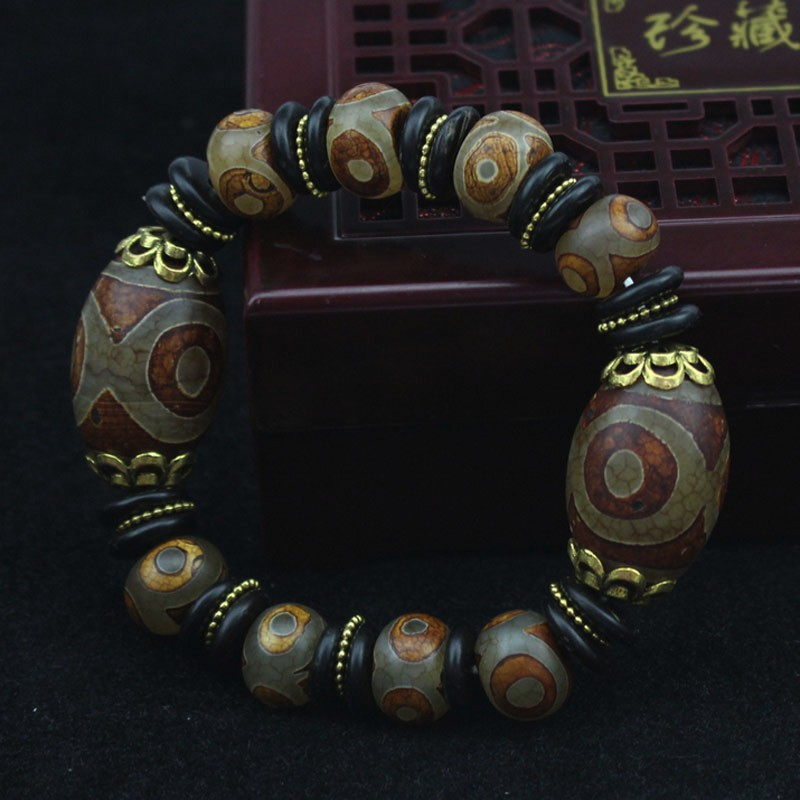 KYSZDL Natural Tibetan old stone dzi bead bracelet men jewelry gifts