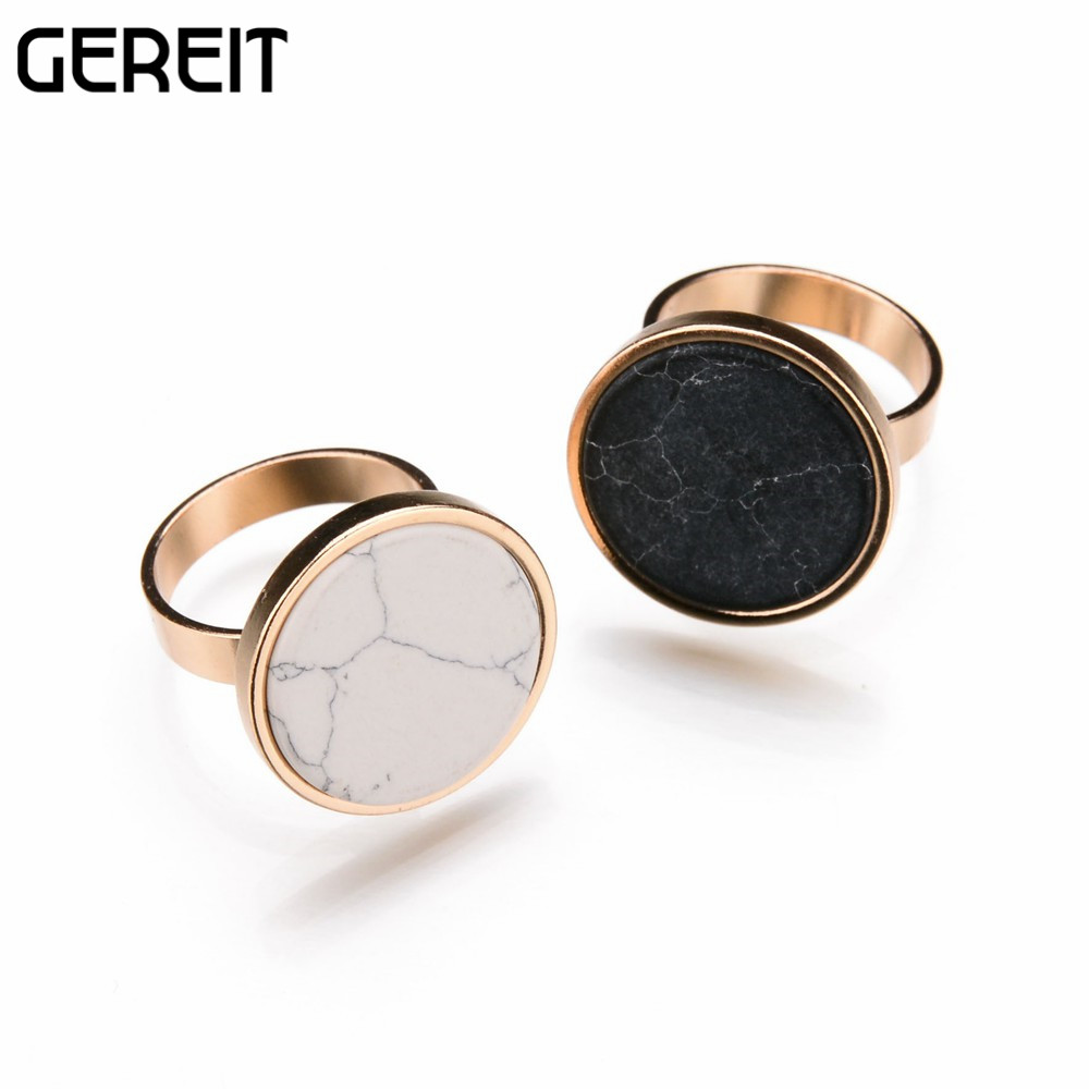 Marble Stone Jewelry : White black round faux marble stone ring geometric fashion