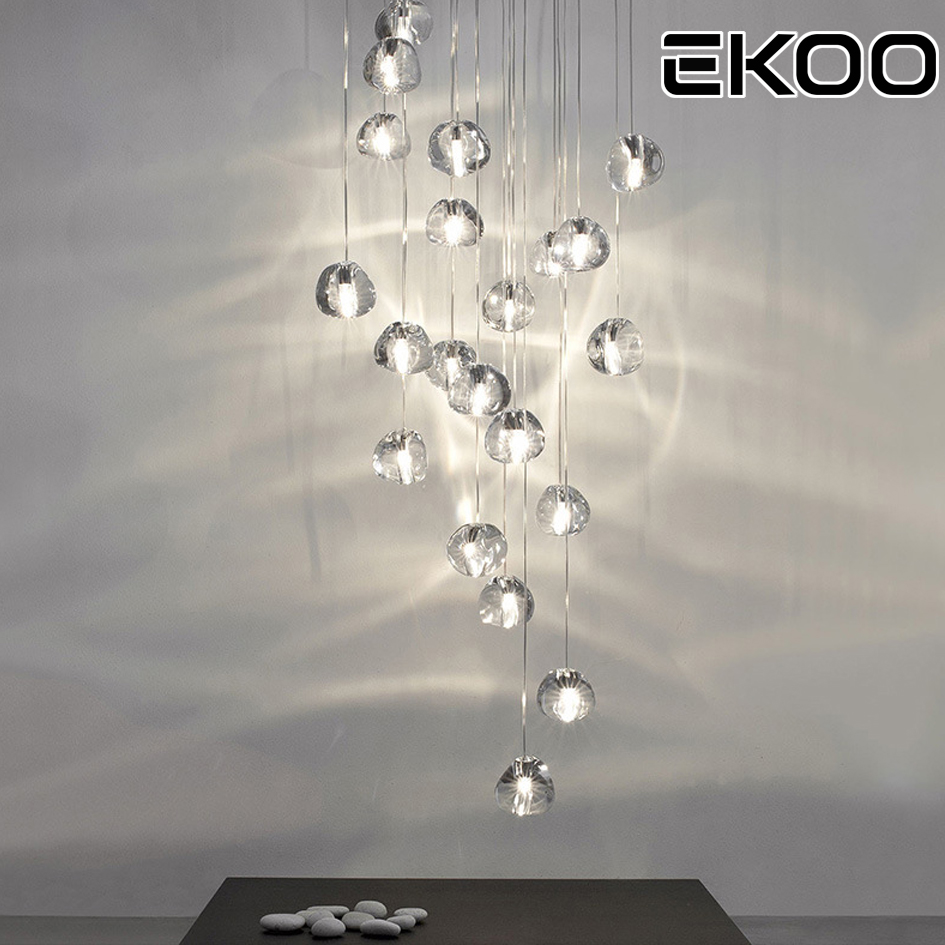 EKOO Cluster Pendant Lamp Modern G4 LED Cherry Bubble Crystal Ball Warm White Applies To Indoors Stairwell And Restaurant