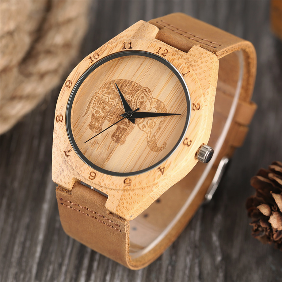 Boho Style Wooden Watch Women Creative Elephant Carving Dial Nature Wood Case Novel Gift Casual Wristwatches relogio masculino (11)