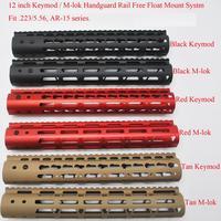 Aplus 12 ''polegada Free Float Handguard Ferroviário M lok/Keymod Estilo Mount System Caber. 223/5. 56 AR 15_Black/Vermelho/Tan Cor|Acessórios e suporte de extensão| |  -
