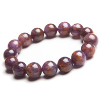13mm Natural Purple Gold Titanium Cacoxenite Rutilated Quartz Crystal Round Clear Beads Jewelry Stretch Charm Bracelet Femme