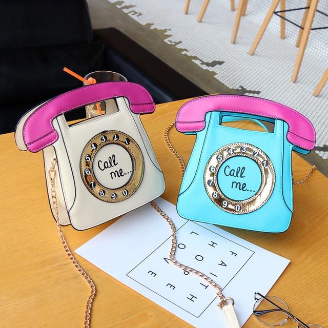 Women's Handbags New Fashion Telephone Style Creative Funny Shoulder Bag Personalized Phone Messenger Bag