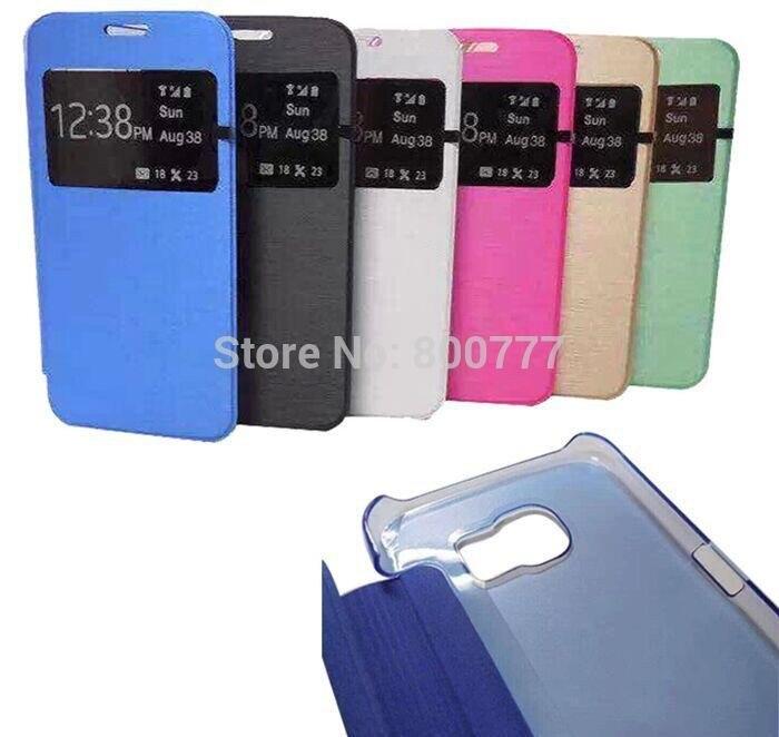 imágenes para Para iphone 5c 5 5S SE 6 6 S 7 8 plus De Samsung Galaxy S6 S7 S8 Borde más Nota 5 Ventana de Visualización Del Tirón Delgado Cubierta de la Caja de LA PU