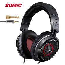 Original SOMIC MH463 Professional DJ Monitor Headphone 45mmHD Stereo Foldable Music Headset with 3.5mm 6.3mm Jack for phone(China)