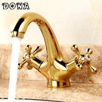 Vòi vàng Châu Âu-phong cách cổ điển retro full đồng lưu vực vòi chậu mixer hot & cold vòi tắm vòi DONA4002