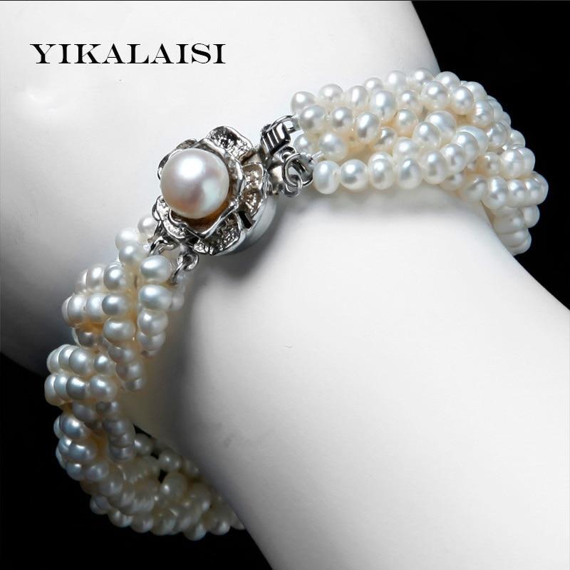 2017 Nouveau Bracelet Perle Bijoux 925 Sterling Argent Enroulement Bracelet & Bangles 100% Naturel D'eau Douce Perle Bracelet Pour Les Femmes
